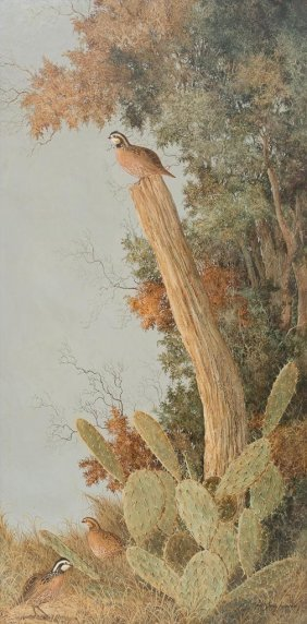 Robert Quill Johnson (1927-1980), Cactus And Quail, Oil