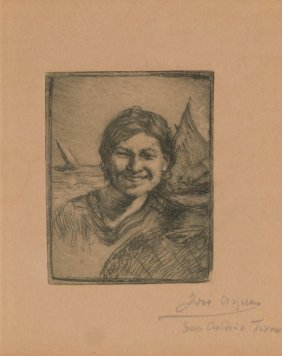 Jose Arpa (1858-1952), Woman And Sailboats, Etching