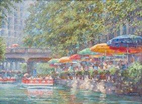 """Robert Hamman, """"sunny Riverwalk"""", 2016, Oil On Canvas"""