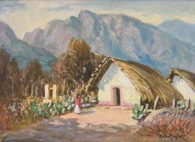 """Rolla Taylor (1872-1970), """"mountain Hut"""", Oil On Canvas"""