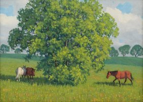 """Fred Darge (1900-1978), """"in The Shade, Dallas"""", Oil"""