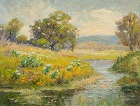 """Santa Duran (1909-2002), """"cactus And Creek"""", 1967, Oil"""