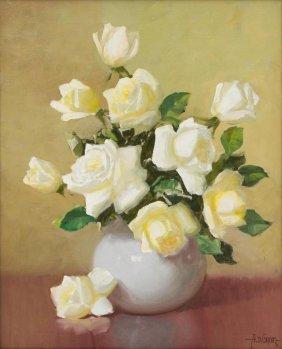 A.d. Greer (1904-1998) Floral Still Life, Oil On Canvas