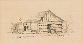 G. Harvey (b. 1933), Ranch Shack, Ink On Paper