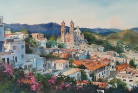"Edith Maskey, ""taxco"", Watercolor"