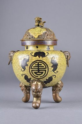 Exquisite Chinese Qing Cloisonne Tripod Censer