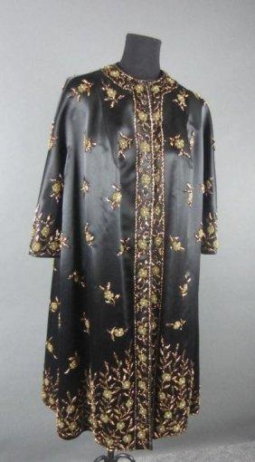 Wonderful Chinese Black Satin And Beaded Evening Coat