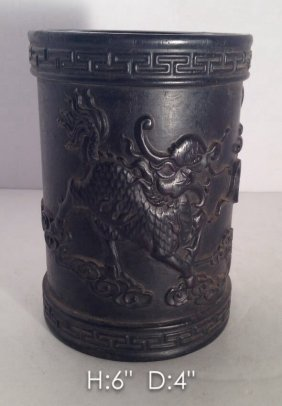 Antique Fine Qing Dynasty Carved Zitan Wood Brush Pot