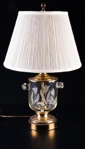 Urn Style Brass & Glass Table Lamp