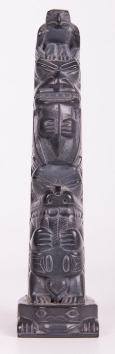 Tom Hans Argillite Carved Totem Pole