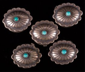 Southwestern Silver & Turquoise Button Covers, 5