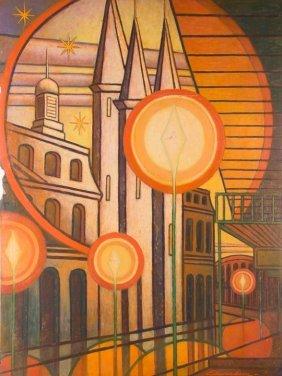 "L. Edwardson ""st. Louis Basilica"" Oil On Board"