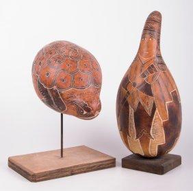 Leoncio Veli Peruvian Gourd Artwork, Two (2)