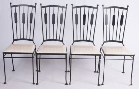 Mid-century Iron Dining Chairs, Set Of Four (4)