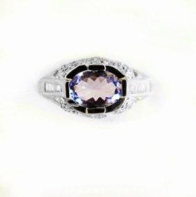 Tanzanite Diamond Ring 1.60 Carat 18k White Gold