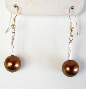 10 Mm Swarovski Crystal Pearl Chocolate Color Earrings