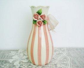 Ceramic Vase Pink/white Strips Rose Flower Design