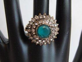 Green Onyx/creation, Diamond Ring 18k W/g Overlay