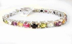 Bracelet Multicolor Stones 23.80ct 18k W/g Overlay