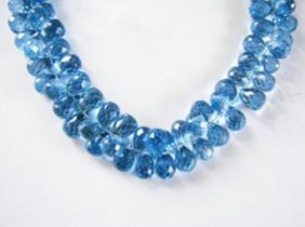 Natural Swiss Blue Topaz Pear Bead 204.10ct