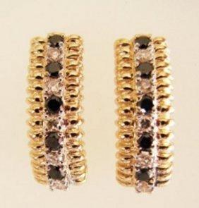 Earrings Natural Black-white Diamond 1.15ct 14k Y/g
