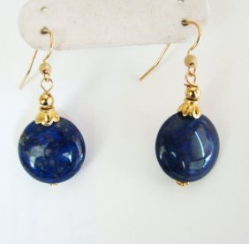 Natural Lapis Lazuli Dangle Earring 28ct 18k Y/g Filled