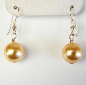 12 Mm Swarovski Crystal Pearl Golden Color Earrings
