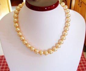 Swarovski Pearl Golden Color Necklace14k W/g Filled