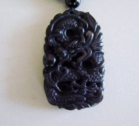 Necklace Caved Dragon Black Onyx 61.38 Gram