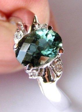 Anniversary Green Tourmalin Diamond Ring 1.30ct 14k W/g