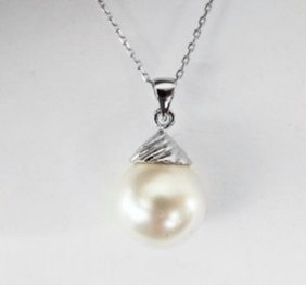 14mm Swarovski Crystal Pearl Pendant 18k W/g Overlay