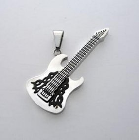 Stainless Steel Guitar Pendant Two Tone