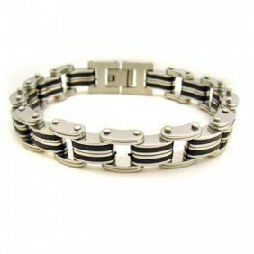 Blackplated Stainless Steel Striped Men?s Bracelet