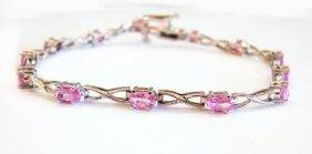 Pink Sapphire Bracelet 4.03ct 14k W/g