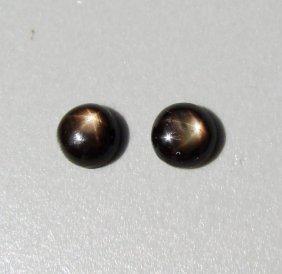 Natural Black Star Sapphire Pairs Round Cabochon 3.70ct