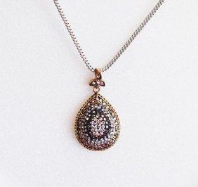 Creation, Diamond, Hematite Crystals 18k Y/g Overlay