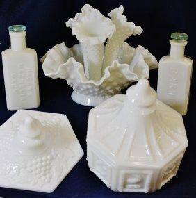 1900-1950s Milk Glass Group Fenton Hobnail Pattern Balm