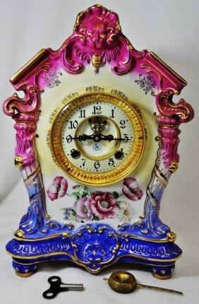 1980 Royal Bonn Style Porcelain R In Globe Mantle Clock