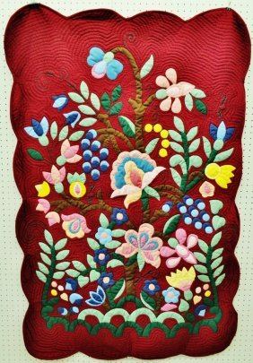 Applique Tree Flower Quilt Curtain Wall Hanging 41x61