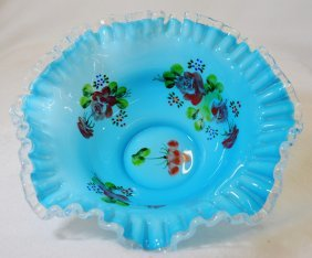 1950s Fenton Hp Cased Blue Over Opal Silver Crest Bowl