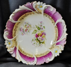 1920s Bavarian Porcelain Sculpted Floral Transfer Bowl