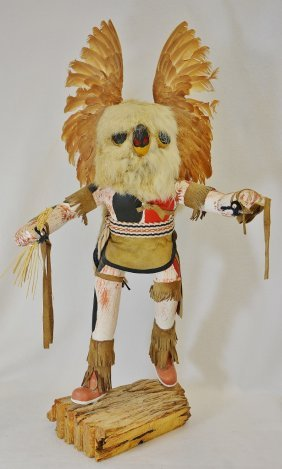 "Rare Early 25"" J Creek Hopi Carved Great Owl Kachina"