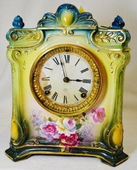 1915 Royal Bonn Ansonia La Seine Porcelain Shelf Clock