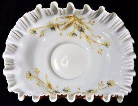 1900 Harrach Hp M Crimp Custard Glass Brides Bowl