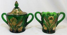 1911 Rare Near Cut Cambridge Emerald Gilt Thistle Items
