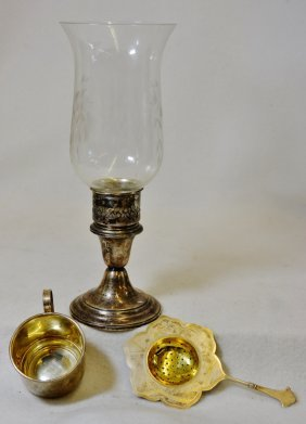 1930s Sterling Gorham Candlestick 2 English Gold Plated