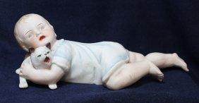 1890s German Piano Baby Child Cat Bisque Figurine