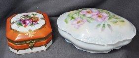 1930s Sgnd Hp Limoges & German Porcelain Trinket Boxes