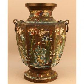 Large 19th C. Japanese Cloisonne Bronze Urn