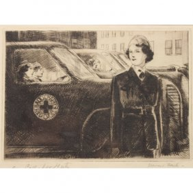 Howard Frech (20th Century) Red Cross Etching